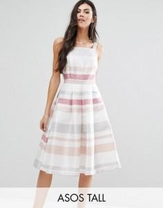 Полосатое платье для выпускного миди в винтажном стиле ASOS TALL - Мульти