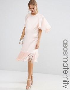 Платье-футболка для беременных с оборкой и рукавами-бабочкой ASOS Maternity - Розовый