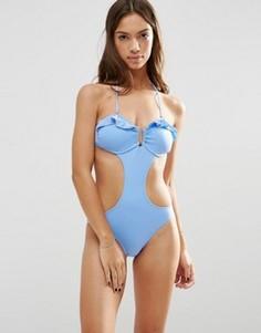 Слитный купальник с вырезами и оборкой Phax - Синий