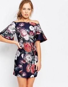 Платье с открытыми плечами и принтом Keepsake - Мульти