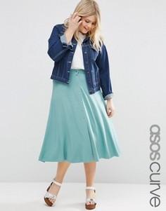 Расклешенная юбка миди с кнопками ASOS CURVE - Зеленый