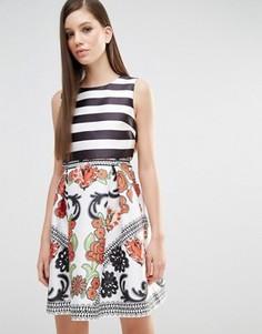 Платье для выпускного 2 в 1 в полоску и с принтом Comino Couture - Мульти