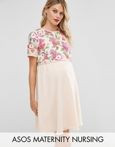Короткое приталенное платье с цветочной отделкой ASOS Maternity NURSING - Розовый