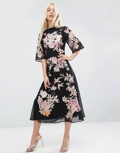Платье миди с вышивкой ASOS PREMIUM Chinoiserie - Мульти