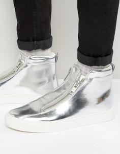 Серебристые кроссовки на молнии и толстой подошве ASOS - Серебряный