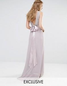 Декорированное платье макси с бантиками сзади TFNC WEDDING - Серый