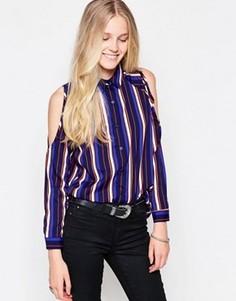 Блузка в полоску с вырезами на плечах Influence - Синий