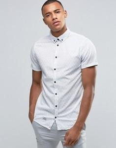 Рубашка узкого кроя в полоску с короткими рукавами Blend - Белый