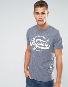 Меланжевая футболка с принтом в стиле ретро Jack & Jones - Темно-синий
