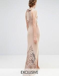 Свадебное кружевное платье макси с высокой горловиной и бантом сзади Jarlo - Коричневый