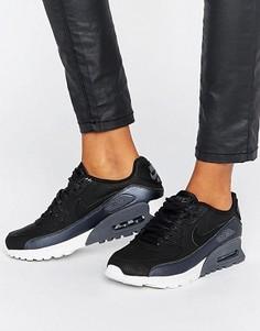 Черные с серебристым кроссовки Nike Air Max 90 Ultra Se - Зеленый