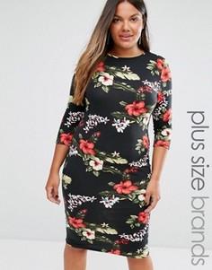 Платье миди с тропическим цветочным принтом Club L Plus - Черный