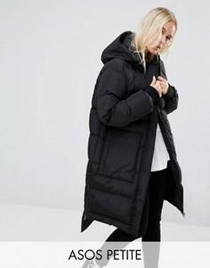 Дутое пальто асимметричной длины ASOS PETITE - Черный
