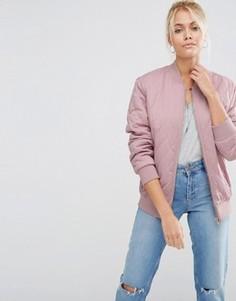 Матовая атласная куртка-пилот ASOS Luxe - Розовый