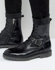 Черные кожаные ботинки со шнуровкой и ремешком ASOS - Черный