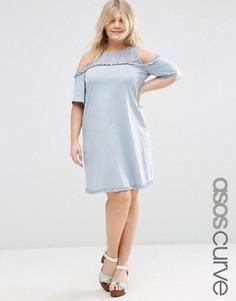 Свободное платье с открытыми плечами и ажурной отделкой ASOS CURVE - Синий