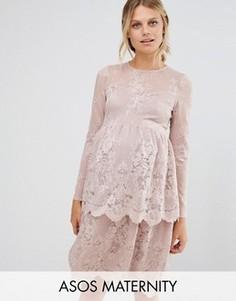 Многоярусное кружевное платье для беременных ASOS Maternity - Бежевый