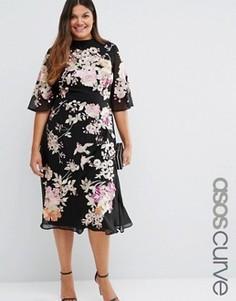 Платье в китайском стиле с вышивкой ASOS CURVE Premium - Мульти