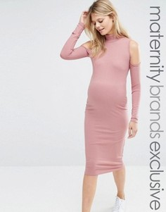 Платье в рубчик для беременных с вырезами на плечах Club L Lounge Maternity - Красный