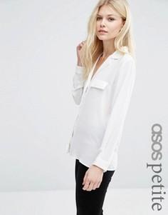 Однотонная блузка в пижамном стиле с карманами ASOS PETITE - Белый