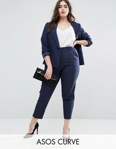 Укороченные креповые брюки-сигареты ASOS CURVE - Темно-синий
