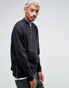 Oversize-свитшот с молнией и тканым карманом ASOS - Черный
