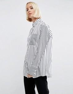 Oversize-рубашка из хлопка в полоску ASOS - Мульти