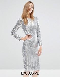 Платье миди с длинными рукавами и отделкой блестками Club L - Серебряный