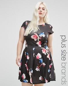 Короткое приталенное платье с цветочным принтом Praslin Plus - Черный