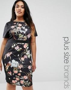 Короткое приталенное платье с боковыми вставками Praslin Plus Illusion - Черный