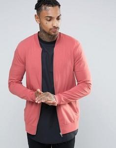 Обтягивающая трикотажная куртка-пилот розового цвета ASOS - Розовый