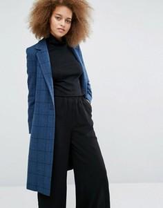 Синее длинное пальто в клетку Helene Berman Zoe - Мульти