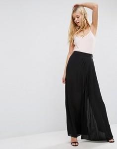 Черная юбка макси с боковым разрезом Lavand - Черный