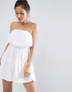 Пляжное платье-бандо с кружевной отделкой ASOS - Кремовый