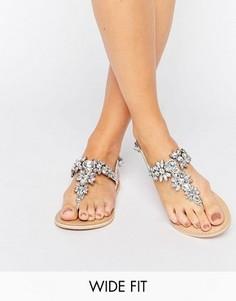 Кожаные сандалии для широкой стопы ASOS FAIRYTALE - Серебряный