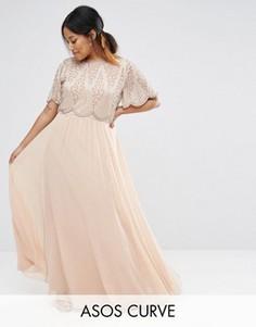 Платье макси с декоративной отделкой лифа ASOS CURVE - Розовый