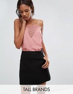 Топ с кружевной вставкой Vero Moda Tall - Розовый