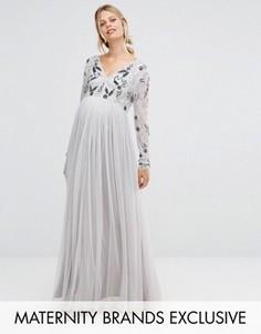 Платье макси с отделкой на лифе и тюлевой юбкой Maya Maternity - Серебряный