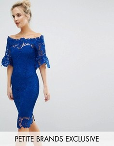 Кружевное платье-футляр с широкой горловиной Paper Dolls Petite - Синий