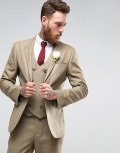 Фактурный серо-коричневый пиджак скинни ASOS WEDDING - Бежевый