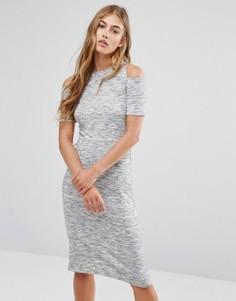 Облегающее платье миди с вырезами на плечах Pimkie - Серый