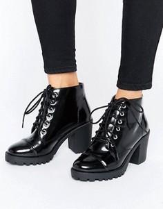 Массивные полусапожки на шнуровке London Rebel - Черный