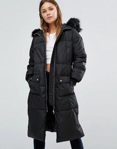 Длинная куртка-пуховик с искусственным мехом New Look - Черный