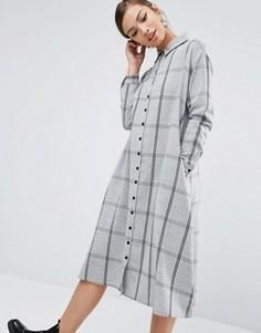 Oversize платье-рубашка в решетчатую клетку Daisy Street - Серый