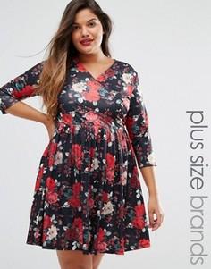Чайное платье с запахом спереди и цветочным принтом Praslin Plus - Черный