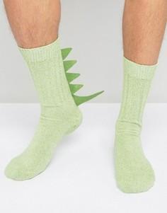 Носки-слиперы с шипами динозавра ASOS - Зеленый