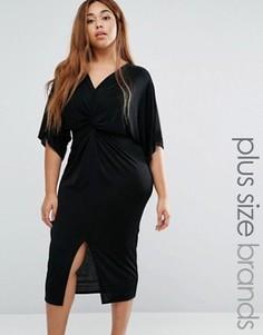 Платье миди с перекрученной драпировкой и рукавами-кимоно Missguided Plus - Черный
