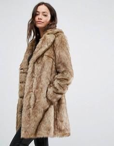 Пальто миди с искусственным мехом New Look - Коричневый