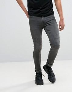 Выбеленные черные супероблегающие джинсы с байкерской отделкой ASOS - Черный