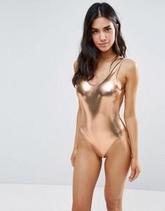Слитный купальник цвета металлик с глубоким вырезом сзади Playful Promises - Золотой